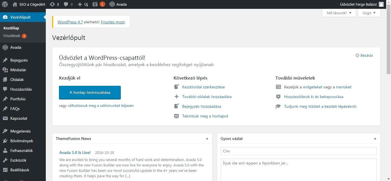 wordpress oldal készítése