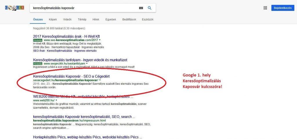Keresőoptimalizálás Kaposvár Google 1. hely
